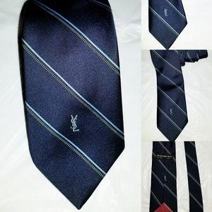 Yves Saint Laurent New York Paris Silk Tie Signatu